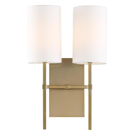 Crystorama Veronica 2 Light Aged Brass Sconce