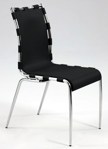 Chintaly VERA-SC-BLK Strap Sides Side Chair *completely set up ( Set of 2 )