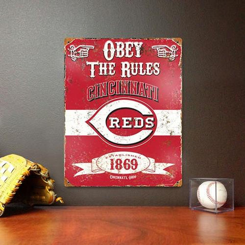 The Party Animal, Inc. VSCIN Cincinnati Reds Embossed Metal Sign - Peazz.com
