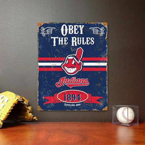The Party Animal, Inc. VSCLE Cleveland Indians Embossed Metal Sign - Peazz.com