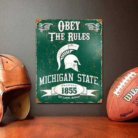 The Party Animal, Inc. VSMS Michigan State Spartans Embossed Metal Sign - Peazz.com