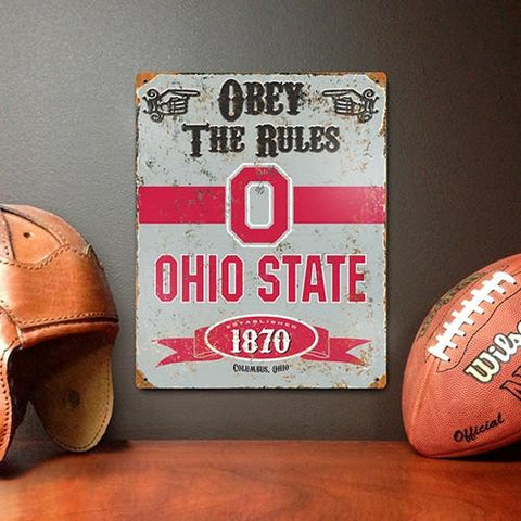The Party Animal, Inc. VSOSU Ohio State Buckeyes Embossed Metal Sign - Peazz.com