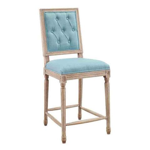 Linon W03488B Avalon Blue Tufted Square Back Counter Stool