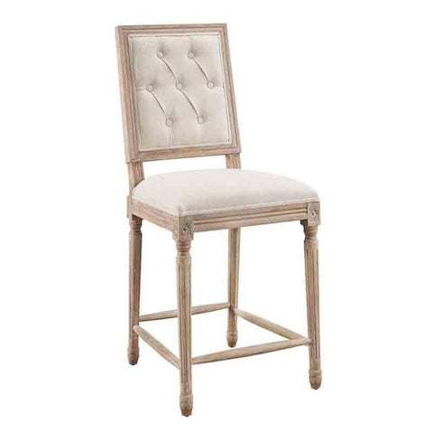 Linon W03488L Avalon Linen Tufted Square Back Counter Stool