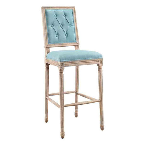 Linon W03489B Avalon Blue Tufted Square Back Bar Stool