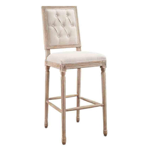 Linon W03489L Avalon Linen Tufted Square Back Bar Stool