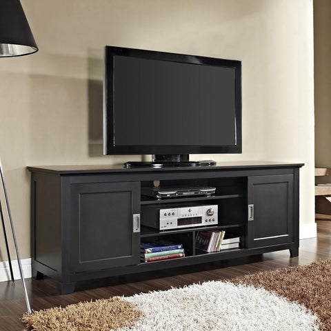 "Walker Edison W70C25SDBL 70"" Black Wood TV Stand with Sliding doors - Peazz.com - 1"