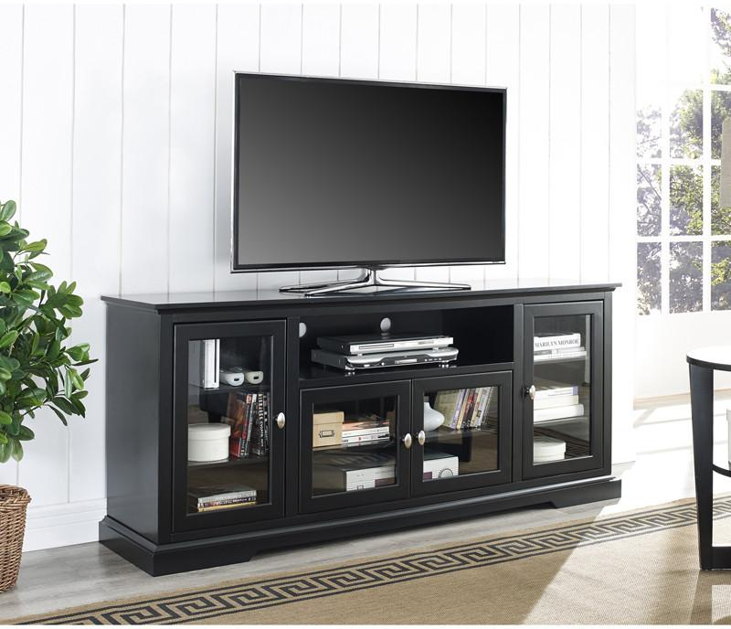 Walker Edison Wood Highboy Tv Stand Black