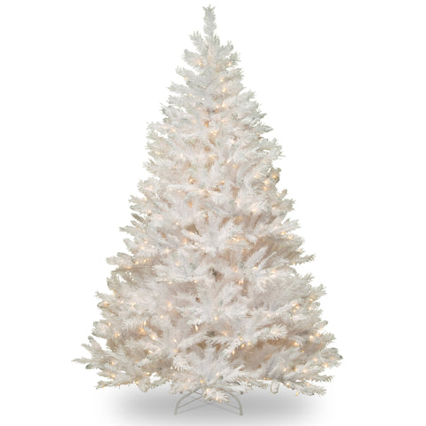 National Tree WCHW7-300-70 7' Winchester White Pine Hinged Tree with Silver Glitter and 450 Clear Lights