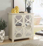 Linon WK119CRM01U Winter Cream Large Cabinet With Mirror Door
