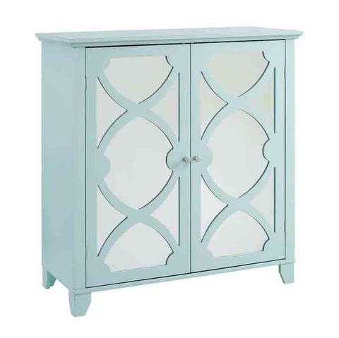 Linon WK121SEA01U Winter Seafoam Large Cabinet With Mirror Door