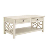 Linon WM126WHT01U Whitley Antique White Coffee Table