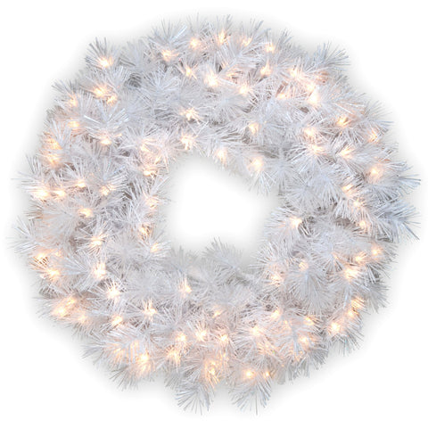 "National Tree WOGW1-304-30W-1 30"" Wispy Willow Grande White Wreath with Silver Glitter and 100 Velvet Frost White Lights"