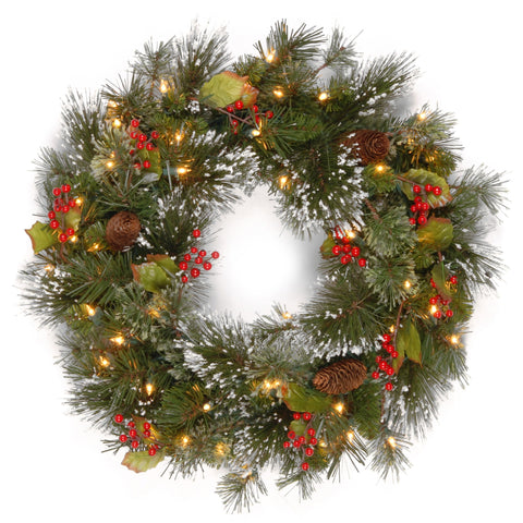 "National Tree WP1-300-24W-1 24"" Wintry Pine Wreath with Cones, Red Berries, Snowflakes and 50 Clear Lights"