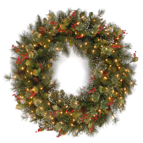 "National Tree WP1-300-36W-1 36"" Wintry Pine Wreath with Cones, Red Berries, Snowflakes with 150 Clear Lights"