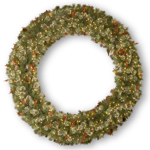 "National Tree WP1-300-72W 72"" Wintry Pine Wreath with Cones, Red Berries, Snowflakes with 400 Clear Lights"