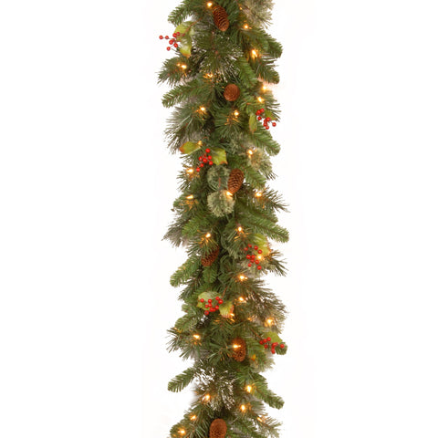 "National Tree WP1-300-9B-1 9' x 12"" Wintry Pine Garland with Cones, Red berries, Snowflakes and 100 clear lights"