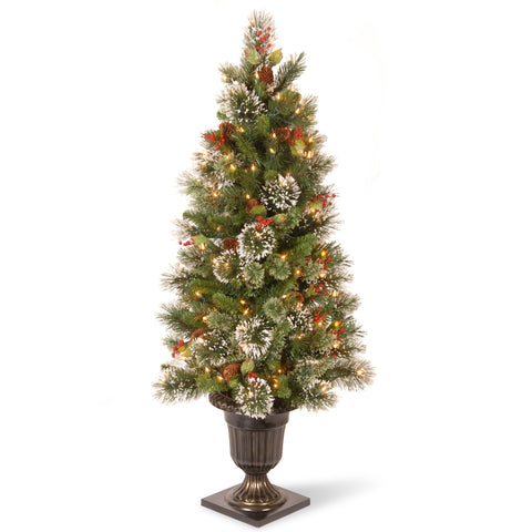 National Tree WP1-302-40 4' Wintry Pine Entrance Tree Cones, Red Berries and Snowflakes with 50 Clear Lights