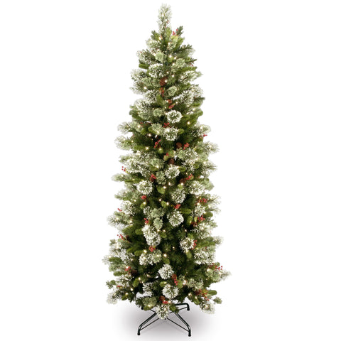 National Tree WP1-310-65 6 1/2' Wintry Pine Slim Tree with Cones, Red Berries, Snowflakes & 300 Clear Lights