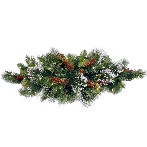 "National Tree WP1-334-32-B1 32"" Wintry Pine Table Piece with Cones, Red Berries and Snowflakes with 35 Warm White Battery Operated LED Lights with Timer"