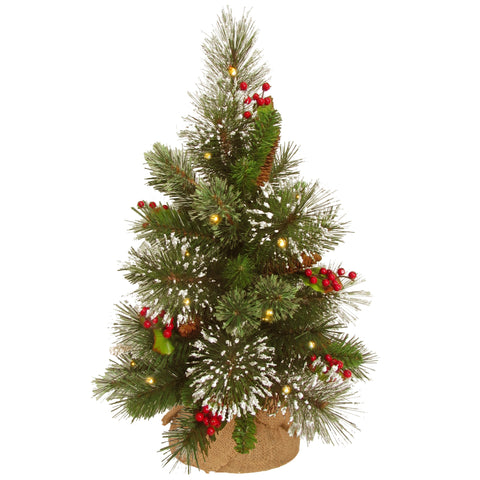 "National Tree WP1-345-18-B1 18"" Wintry Pine Small Tree with Cones, Red Berries and Snowflakes in Burlap Base with 15 Warm White Battery Operated LED Lights w/Timer"