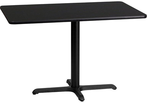 Flash Furniture XU-BLKTB-2442-T2230-GG 24'' x 42'' Rectangular Black Laminate Table Top with 22'' x 30'' Table Height Base - Peazz.com
