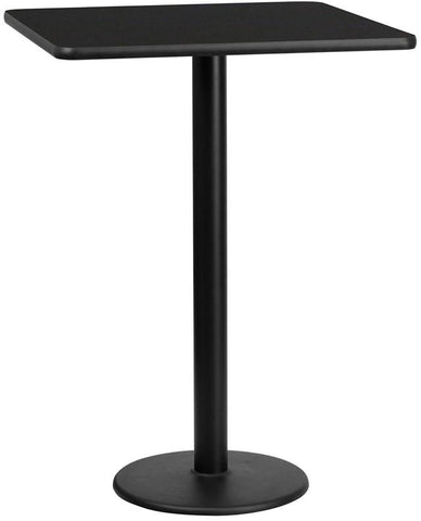 Flash Furniture XU-BLKTB-3030-TR18B-GG 30'' Square Black Laminate Table Top with 18'' Round Bar Height Table Base - Peazz.com