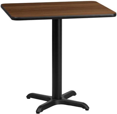 Flash Furniture XU-WALTB-2430-T2222-GG 24'' x 30'' Rectangular Walnut Laminate Table Top with 22'' x 22'' Table Height Base - Peazz.com