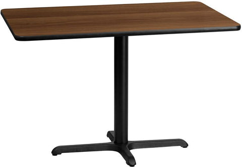 Flash Furniture XU-WALTB-3045-T2230-GG 30'' x 45'' Rectangular Walnut Laminate Table Top with 22'' x 30'' Table Height Base - Peazz.com