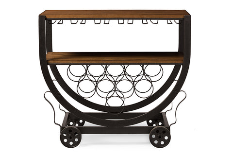 Baxton Studio YLX-9043 Triesta Antiqued Vintage Industrial Metal And Wood Wheeled Wine Rack Cart