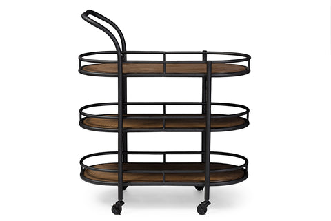 Baxton Studio YLX-9031 Karlin Rustic Industrial Style Antique Black Textured Finish Metal Distressed Wood Mobile Kitchen Bar Serving Wine Cart