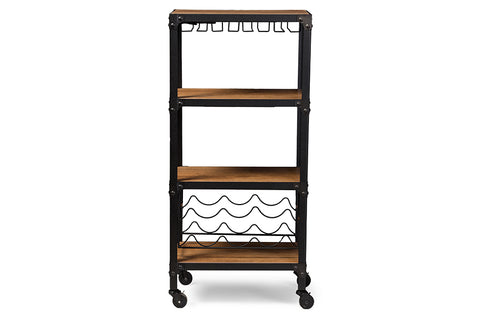 Baxton Studio YLX-9033 Swanson Rustic Industrial Style Antique Black Textured Finish Metal Distressed Wood Mobile Kitchen Bar Wine Storage Shelf