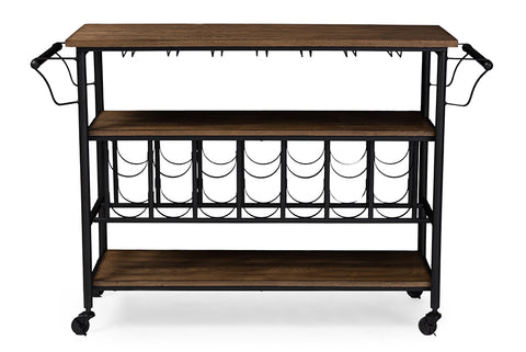 Baxton Studio YLX-9044 Bradford Rustic Industrial Style Antique Black Textured Finish Metal Distressed Wood Mobile Kitchen Bar Serving Wine Cart