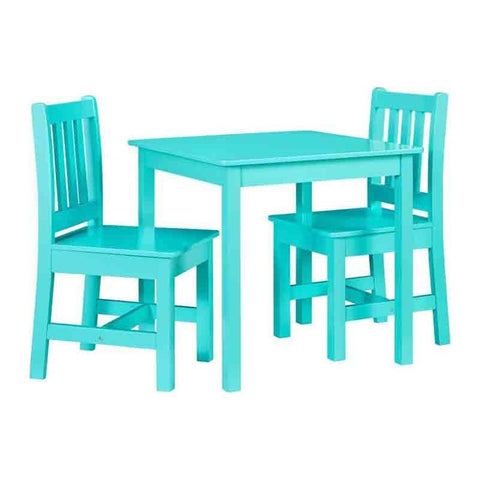 Linon YT107TEAL01U Jaydn Teal Kid Table And Two Chairs