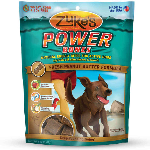 Zuke's Z-00052 Power Bones Natural Endurance Treats for Dogs Peanut Butter 6 oz.