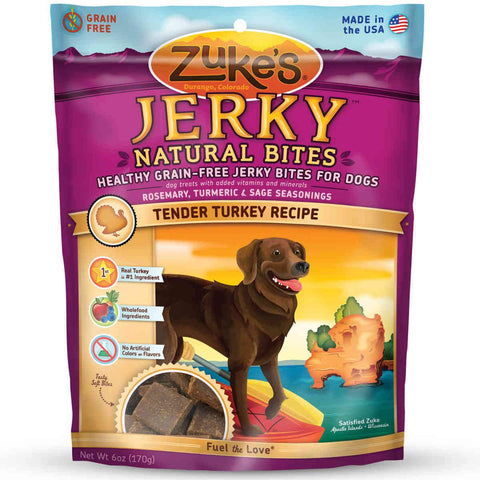 Zuke's Z-22058 Jerky Naturals Healthy Grain Free Treats for Dogs Tendy Turkey 6 oz.