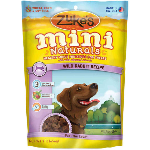 Zuke's Z-33026 Mini Naturals Moist Miniature Treat for Dogs Wild Rabbit 1 lbs.