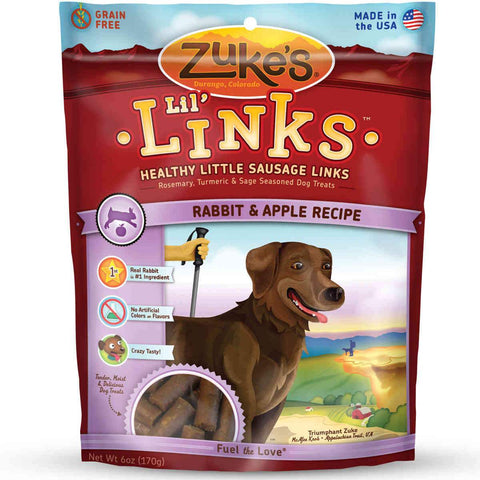 Zuke's Z-41056 Lil' Links Healthy Grain Free Little Sausage Links for Dogs Rabbit and Apple