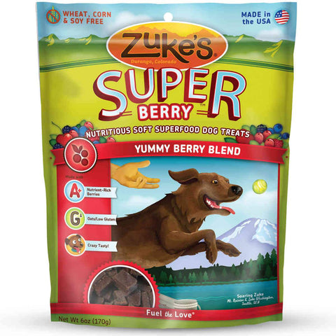 Zuke's Z-61057 Supers All Natural Nutritious Soft Superfood Dog Treats Yummy Berry 6 oz.