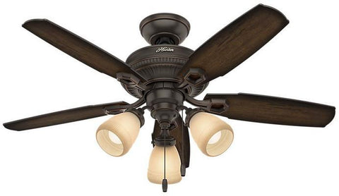 "Casablanca 52233 Ambrose Collection - 44"" Onyx Bengal Three Light Kit 52233 FAN"