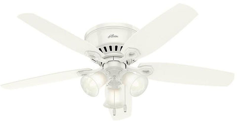 "Casablanca 53326 Builder Low Profile - 52"" Snow White Three Light 53326 FAN"