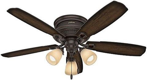 "Casablanca 53356 Ambrose Collection - 52"" Onyx Bengal Low Profile Three Light Kit 53356 FAN"