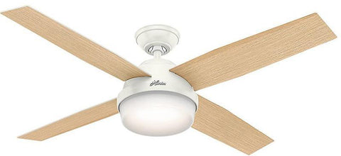 "Casablanca 59217 Dempsey Collection - 52"" Fresh White Integrated Light Kit 59217 FAN"