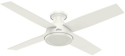 "Casablanca 59248 Dempsey Collection - 52"" Fresh White Low Profile No Light Kit 59248 FAN"
