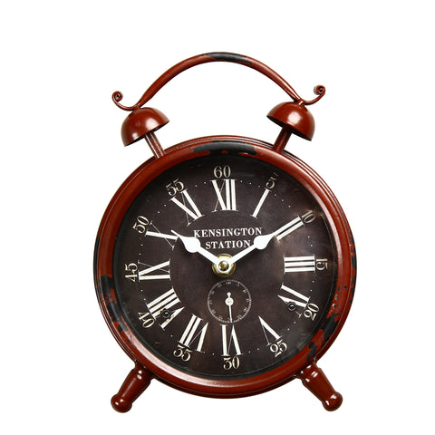 "Furnistars Vintage-Inspired Brown Iron Table Top Alarm Clock ""Kensington Station"""