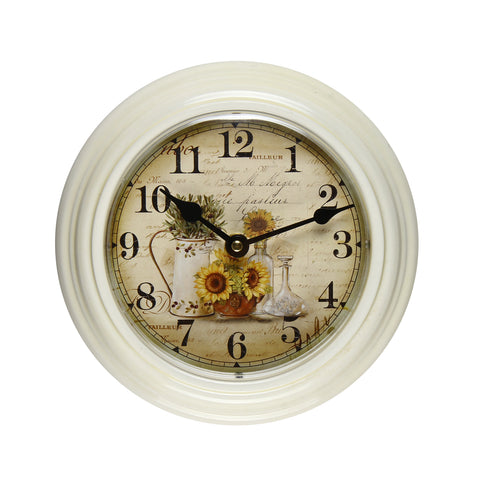 Furnistars White Iron Vintage-Inspired Round Wall Clock