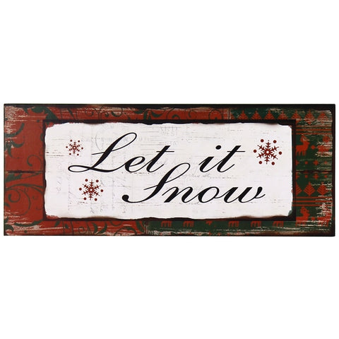 "Furnistars Decorative Wood Wall Hanging Sign Plaque ""Let is Snow"""