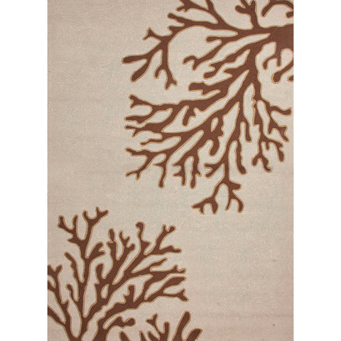 Jaipur Rugs RUG113753 Indoor-Outdoor Coastal Pattern Polypropylene Ivory/Brown Area Rug ( 9x12 )