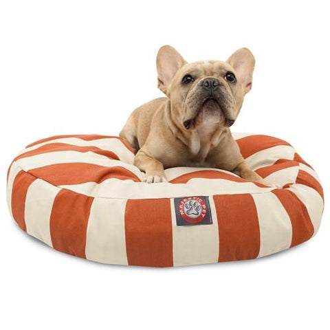 Majestic Pet Products Burnt Orange Vertical Stripe Small Round Pet Bed - Peazz.com