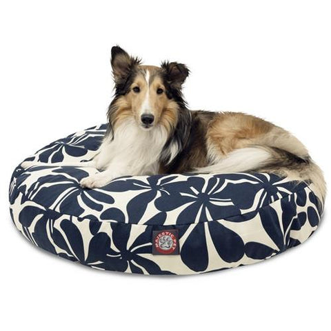 Majestic Pet Products Navy Blue Plantation Medium Round Pet Bed - Peazz.com
